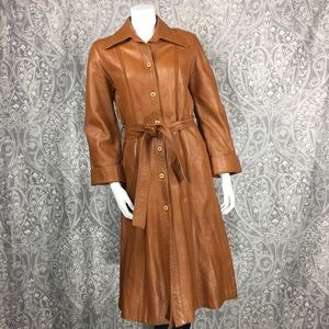 Vintage Imperial Leather Tie Waist Midi Jacket